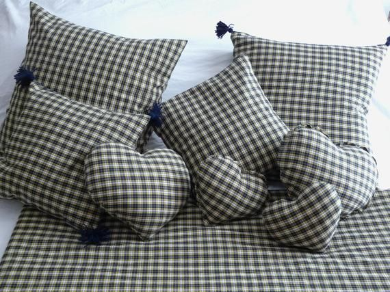 Plaid Pillow Cover Duvet Cover Pillowcase Collection Tartan Plaid Checkered Blue Navy Yellow And White Avec Images Housse De Coussin