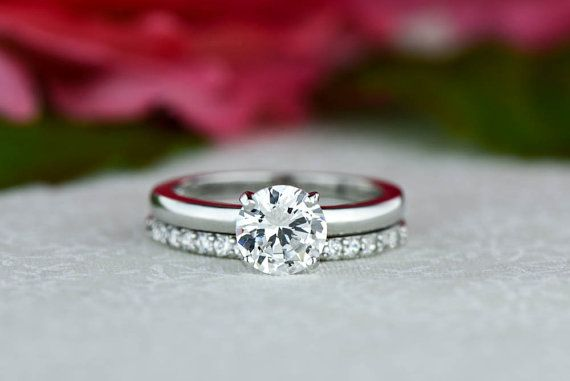 1 ctw Round Bridal Set Solitaire Ring Half by TigerGemstones