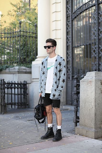 Saint Laurent cardigan, Nike t-shirt, April77 shorts, Dr. Marten boots and Balenciaga bag