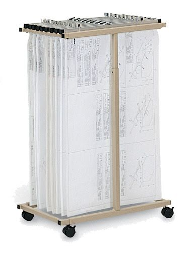 "EXPANDABLE MOBILE PLAN CENTER - ADJUSTABLE VERTICAL FILE CART 27""-39"" MAX.FILING WIDTH AVAILABLE IN SAND BEIGE 