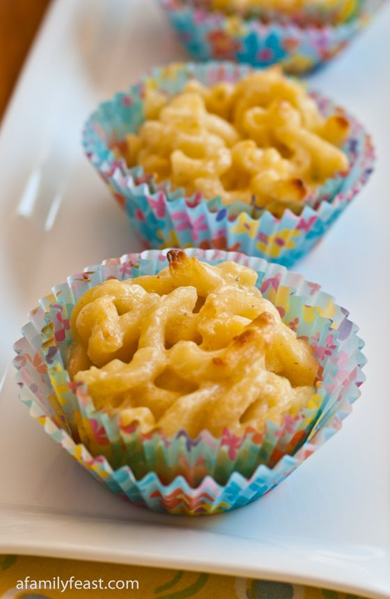 Mac and Cheese Cupcakes: A really fun way to serve a classic!  Has a delicious Ritz cracker crust topped with the perfect mac and cheese - lightly golden on the top and creamy on the inside. Kids and grownups love this recipe!