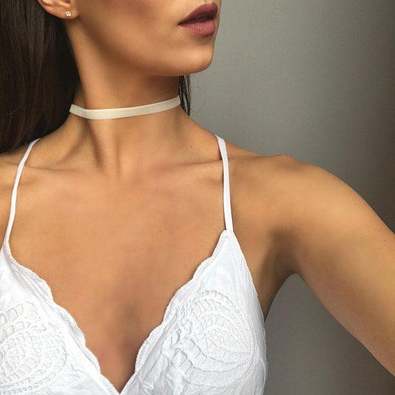BASIC Nude Choker Necklace / Beige Velvet Choker Necklace /