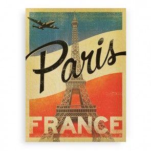 Paris Flag Wood Print