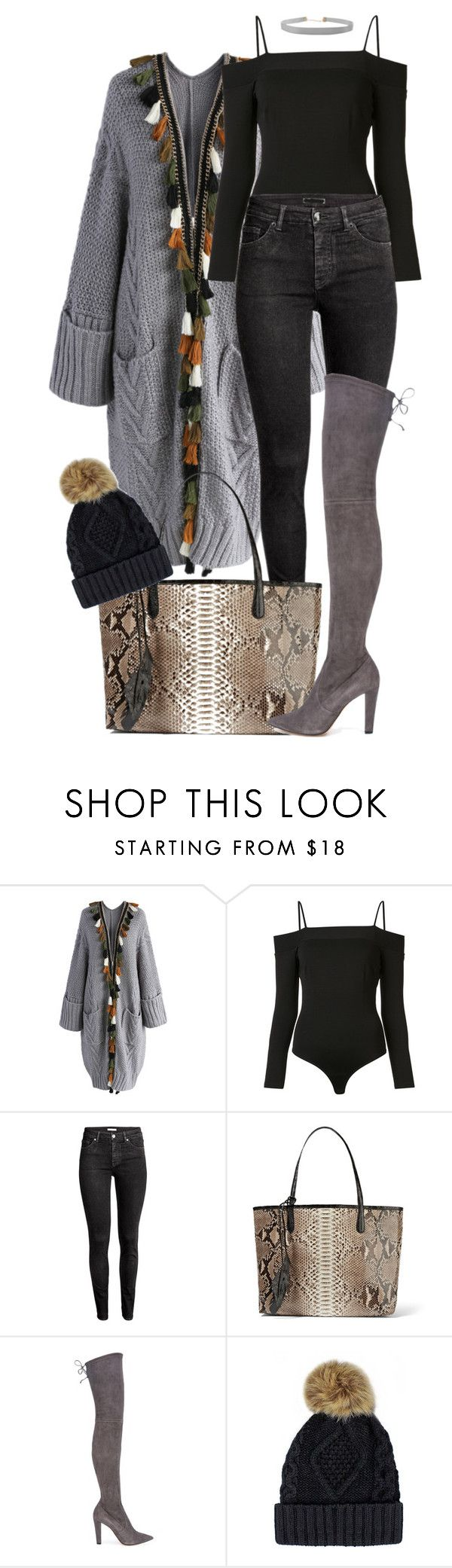 """""""Juss Kickin' It"""" by sultrysalem ❤ liked on Polyvore featuring Chicwish, Fleur du Mal, H&M, Nancy Gonzalez, Jean-Michel Cazabat and Humble Chic"""