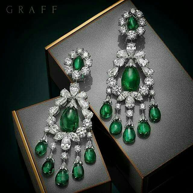 Exquisite Emeralds. These baroque emerald and diamond earrings feature a selection of rare emeralds including a 10 carat cabochon drop at the centre of each jewel.