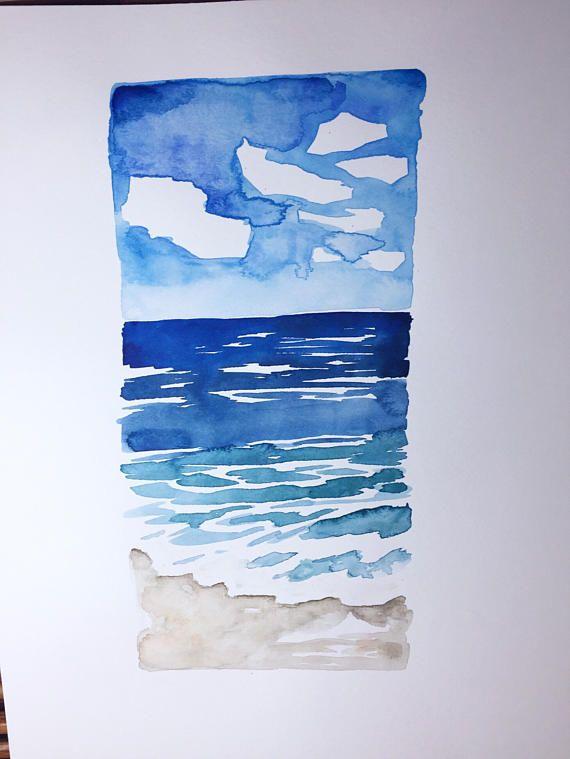 Beckoning I original watercolor painting ocean seascape