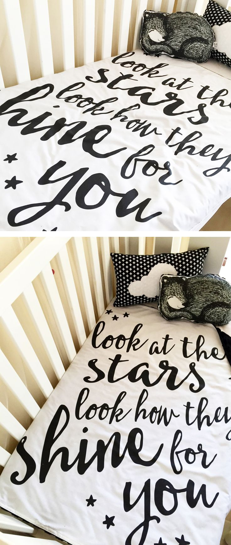 Look at the stars - Deluxe Monochrome Minky Cot Blanket - Boutique Crib Bedding