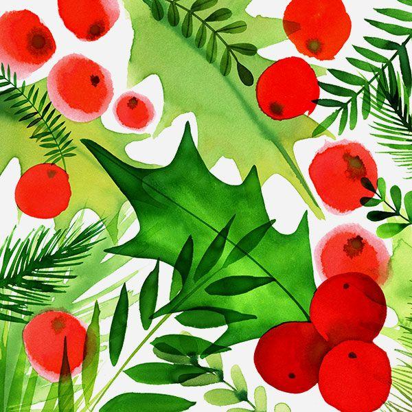 Margaret Berg Art: Holiday Foliage Square