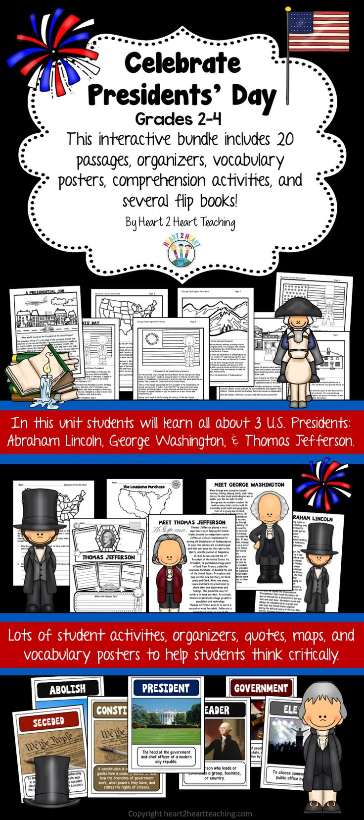 Learning about Presidents' Day has never been so much fun! With this creative activity pack students will love learning all about George Washington, Abraham Lincoln, Thomas Jefferson, and all about president's job in honor of all United States Presidents!