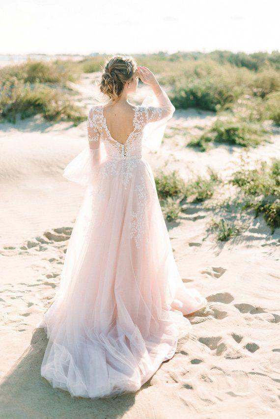 Pink Wedding Dress Boho Wedding Dress Bohemian Dress Long Sleeve Dress Tulle Wedding Dress Floral Wedding Dress Fairy Wedding Dress In 2020 Pink Wedding Dress Pink Wedding Dresses Light Pink Wedding Dress