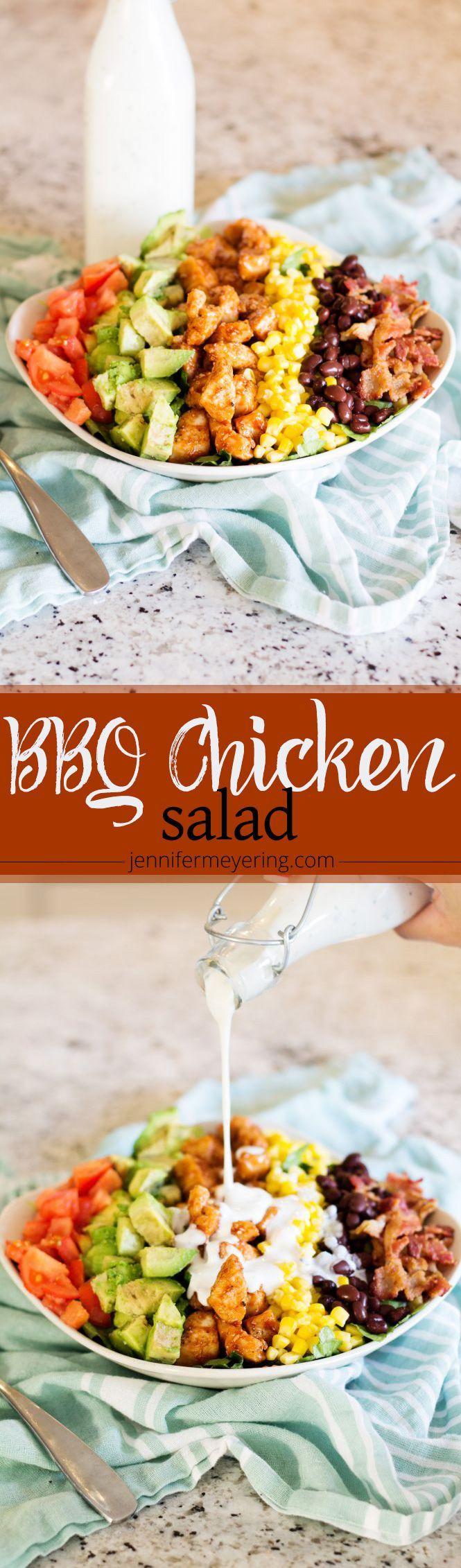 BBQ Chicken Cobb Salad -- http://JenniferMeyering.com