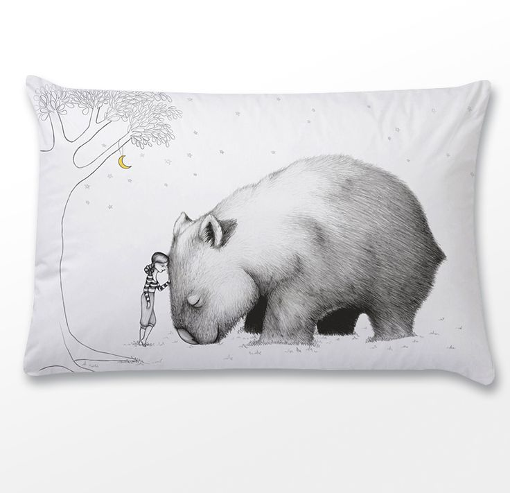 """This gorgeous pillowcase has been printed with the dreamy""""Giant Wombat"""" illustration by the talented Flossy-pIt features a girl leaning on a Giant WombatThe pillowcase is plain on the back and has an envelope opening and is sized 71cm x 46cm to fit standard Australian and American pillowsThe design is digitally printed using Eco-friendly, water based pigment inks on natural fibre textilesThere are no additional chemicals used in the printing or preparatio..."""