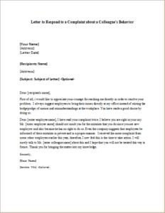 Employee leaving announcement sample letter to respond to a letter to respond to a complaint about a colleagues behavior download at http spiritdancerdesigns Images
