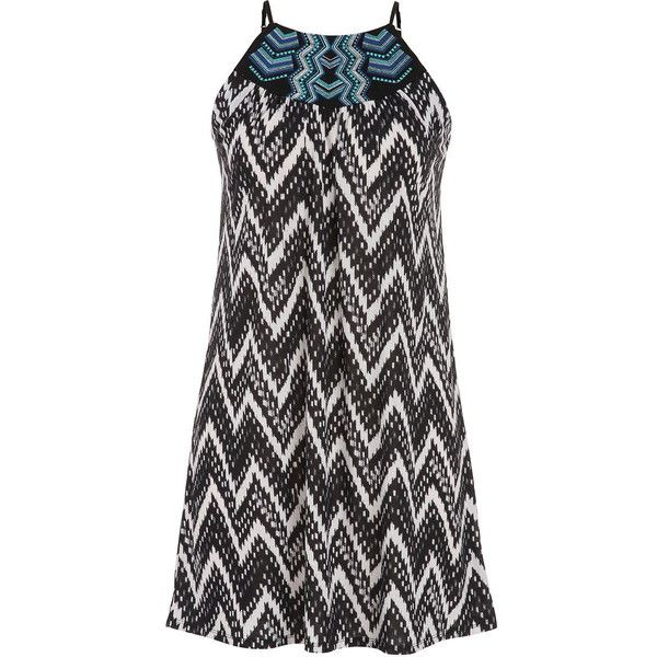 maurices Chevron Stripe Shift Dress With Embroidered Neckline (40 CHF) ❤ liked on Polyvore featuring dresses, black, black chevron dress, maurices dresses, black shift dress, plus size dresses and black dress