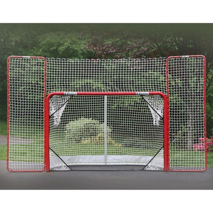 EZ Goal Folding Metal Hockey Goal with Backstop & Targets - 6 Ft. x 4 Ft., Red
