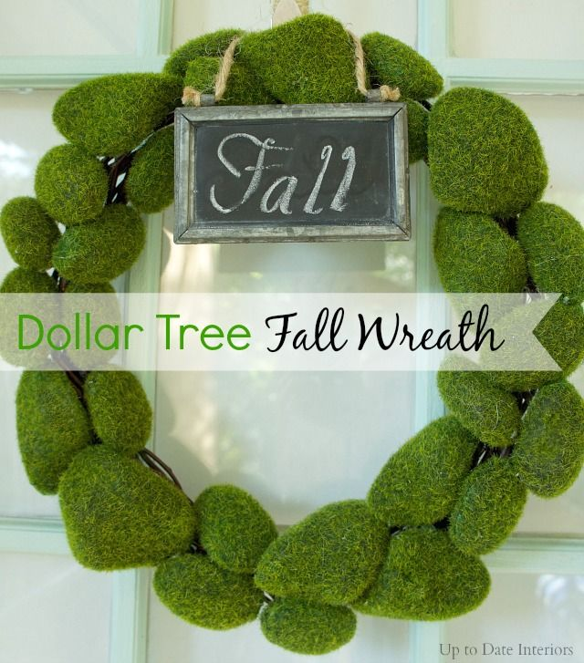 Make a Fall Wreath for under $10! Just a couple of supplies to create a pretty Moss Dollar Tree Fall Wreath.