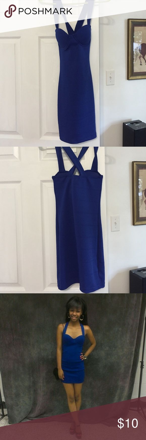 Dark blue, night out dress. Above the knee, dark blue dress for a night out. Cross back. Dresses Mini