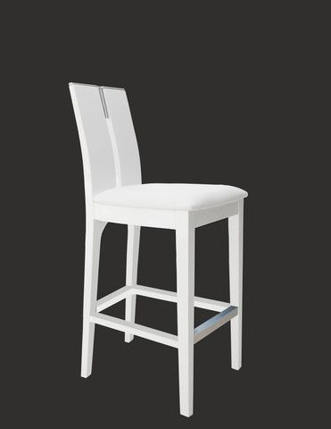 The Avanti Stool comes in counter and bar heights. With a rectangular cut-out on the seat's back, chrome accent on the top and leg rest, this stool epitomizes contemporary style with its blend of wood and bonded leather. Simple, yet elegant! Available in:  White lacquer and white leather Wenge and black leather
