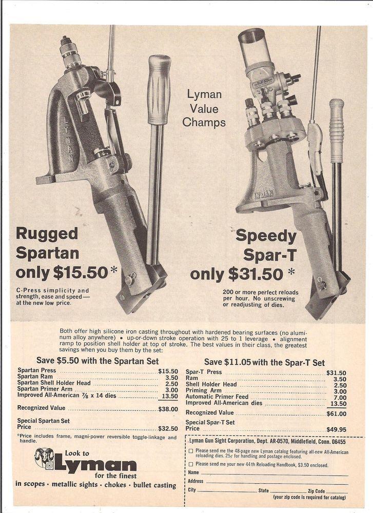 1960's Vintage LYMAN Reloading Spartan Speedy Spar T Gun AD