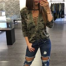 Spring Lace up Bandage V Neck Camouflage T-shirts Female long sleeves clothes Hollow Out T shirt Fall Army Green Shirts Top(China (Mainland))
