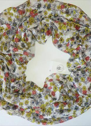 Нежный весенне-летний  шарф хомут, снуд с цветочным принтом из германии. (C