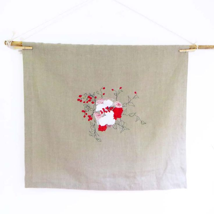 Square linen embroidered tablecloth, red berries flower bouquet #linen #square #housewarming #hostessgift #textileart #fabriccollage #wedding #keepsake
