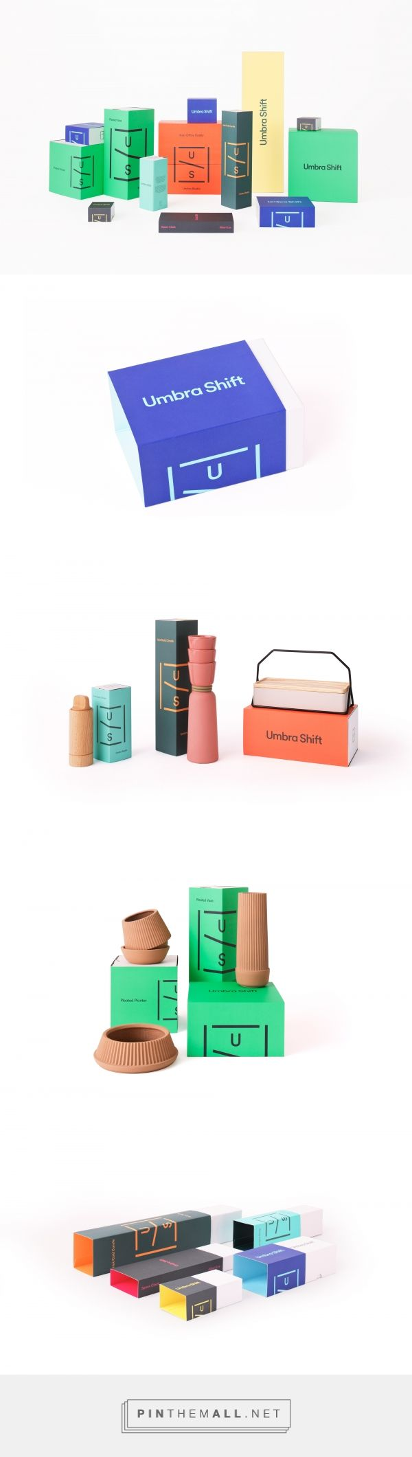 Umbra Shift is an extension of Umbra that focuses on contemporary influences in the design community. For more than 30 years, Umbra has broken the mould by creating entirely new categories that apply thoughtful design to everyday items. | Designed by Post Projects #packaging #branding