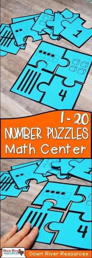 1-20 Number Puzzles | Kindergarten Math Centers | Kindergarten Math Puzzles | Read and Represent Numbers 1-20 by janelle