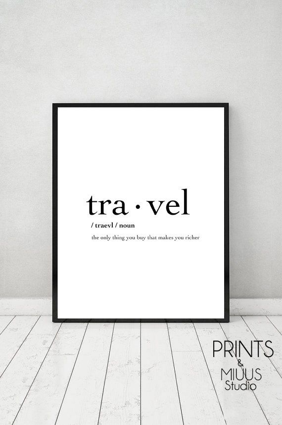 Travel Definition, Printable Travel Quote, Word Poster, Travel Word Art, Typography Wall Art, 8×10, 18×24, Travel Instant Download, A3