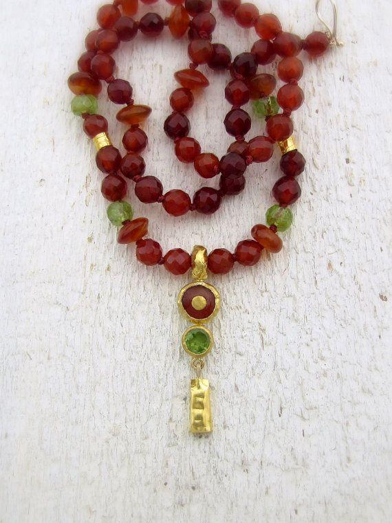 Carnelian and Peridot Necklace. 24k Solid Gold Carnelian by Omiya
