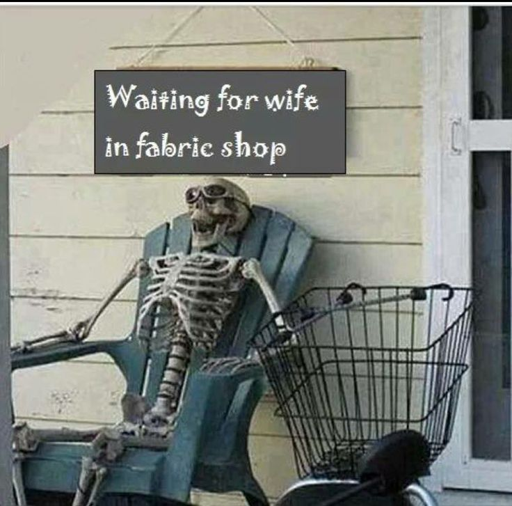 Waiting for wife in fabric shop www.quiltfabriccloseouts.com