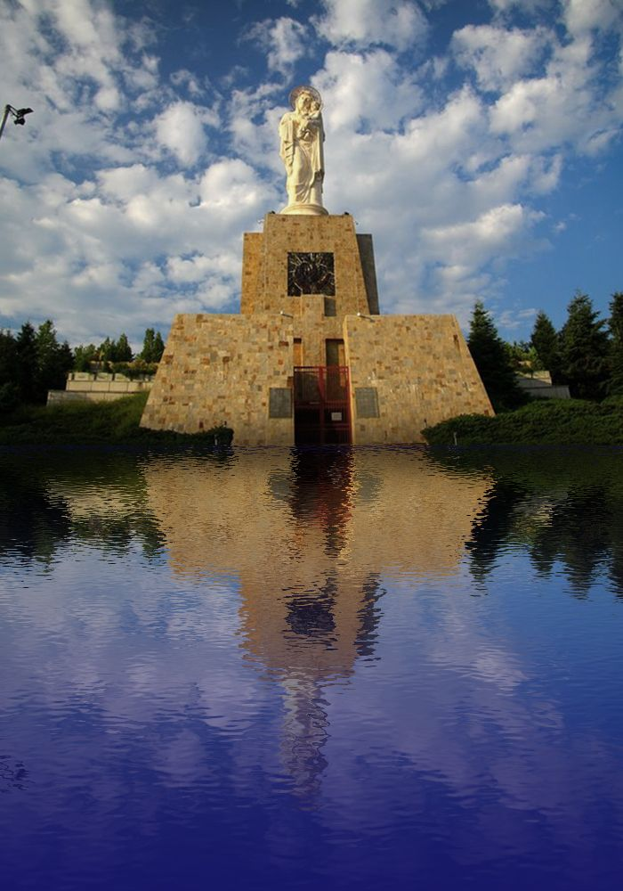 Statue of Mary and Jesus after the flood, Haskovo, Bulgaria