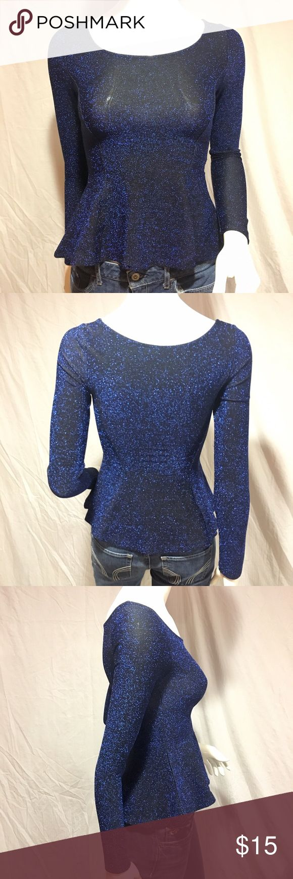 "Sparkly peplum top Black and blue sparkly long sleeve peplum top. Has a scoop neck in the front and back. Length: 21"", armpit to armpit: 13"", waist: 11 1/2"" across. In great condition. Feel free to make me a reasonable offer 💕 Divided Tops Blouses"