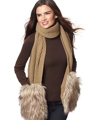 MICHAEL Michael Kors Scarf, Knit Scarf with Faux Fur Pockets - Handbags & Accessories - Macy's