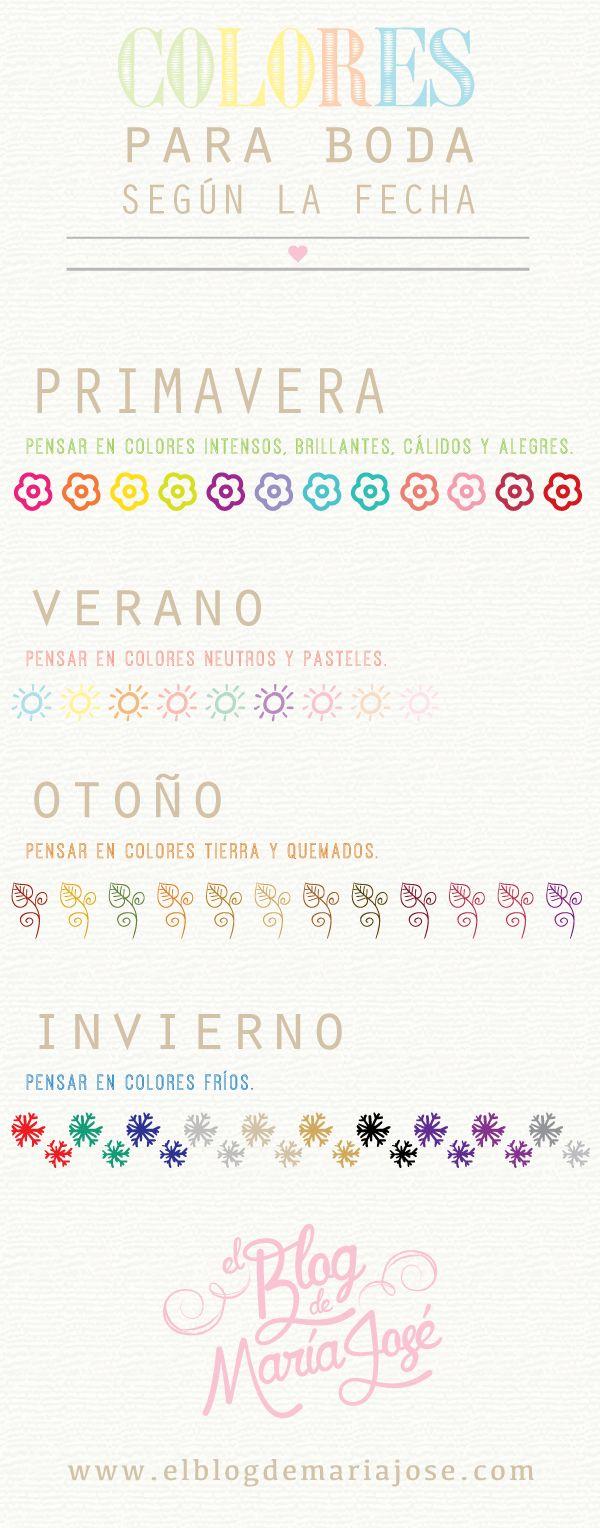 Conoce qué color elegir para la decoración de la boda según la fecha, es decir, si te casarás en primavera, verano, otoño o invierno #bodas #ElBlogdeMaríaJosé #coloresboda #decoraciónboda