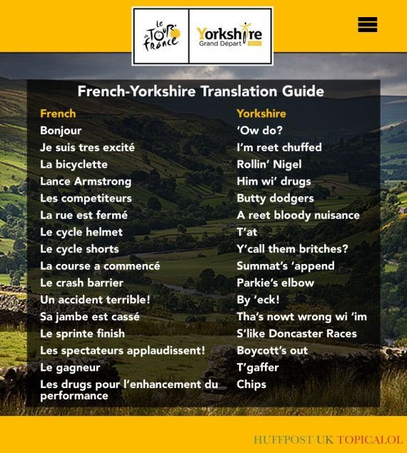 le tour yorkshire french translation.  Is it 'eck?