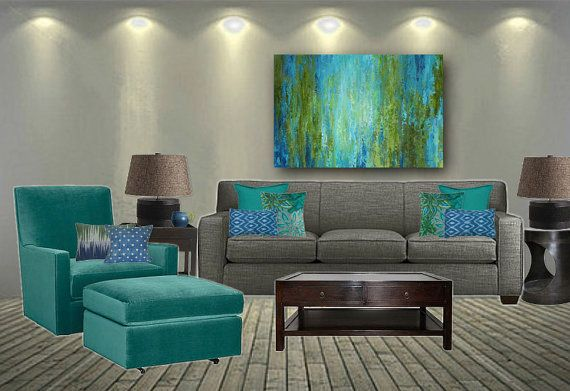 Large Wall Art Abstract Canvas Print Turquoise Olive