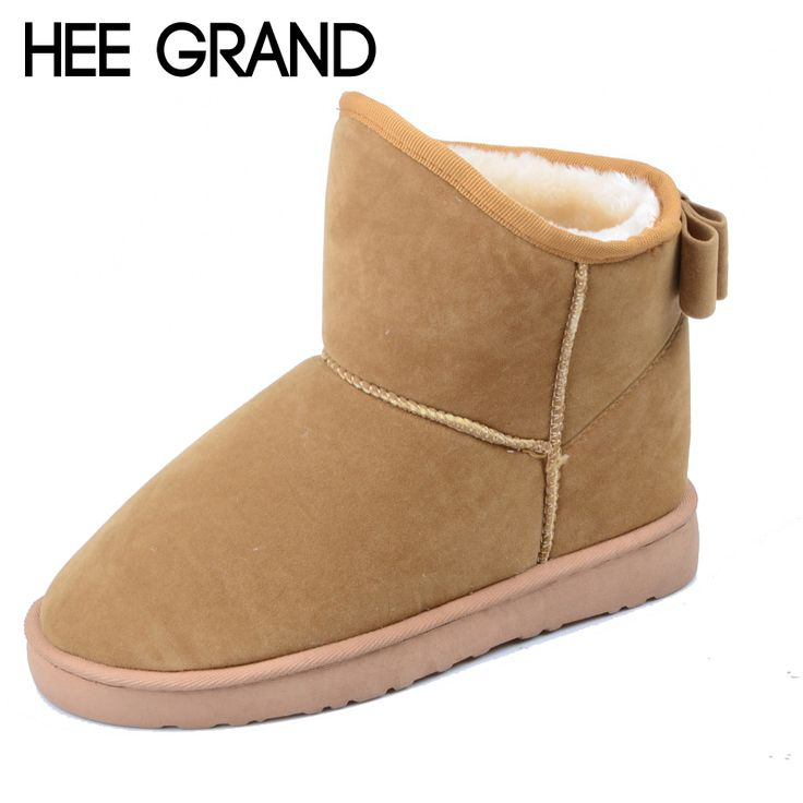 HEE GRAND Warm Winter Snow Boots Bowtie Soft Flock Fur Ankle Boots Casual Slip On Flats Women Boots Platform Shoes Woman XWX2642