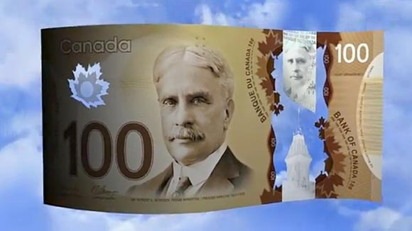 Canada's new $100 bill. Made of polymer, not paper. Featured: Sir Robert Borden, prime minister 1911-1920.