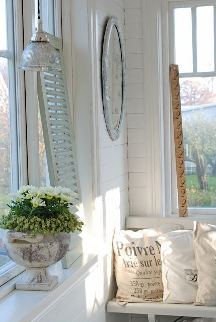 simple style houseofjuliet: Cozy Nooks, Country French, Living Rooms, Grains Sacks, Shabby Chic, White Decor, Whitedecor, Shutters Ideas, Glasses Lights