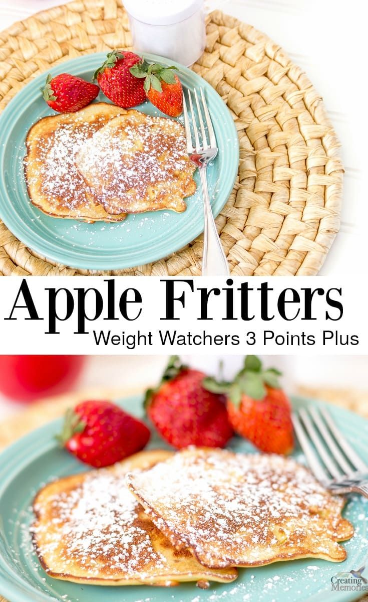 This golden & SKINNY No Fry apple fritters recipe is simple and delicious. Homemade with fresh apple slices, and an easy pancake batter. It is the best sweet treat, snack or a healthy breakfast! Perfect for those trying to lose weight with only 3 points plus on the weight watchers program.