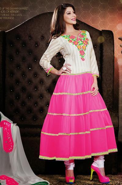 $92.59 White and Pink Chiffon Embroidery Salwar Kameez 26516