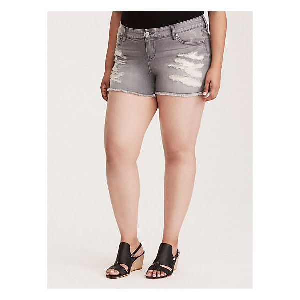 Torrid Skinny Short Shorts - Grey Wash with Repaired Destruction and... ($32) ❤ liked on Polyvore featuring shorts, sexy short shorts, denim shorts, plus size jean shorts, short jean shorts and plus size denim shorts
