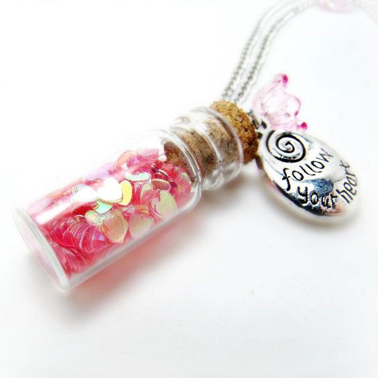 Jar of Hearts Necklace- Glitter Necklace-Bottle Necklace-Charm Necklace-Summer
