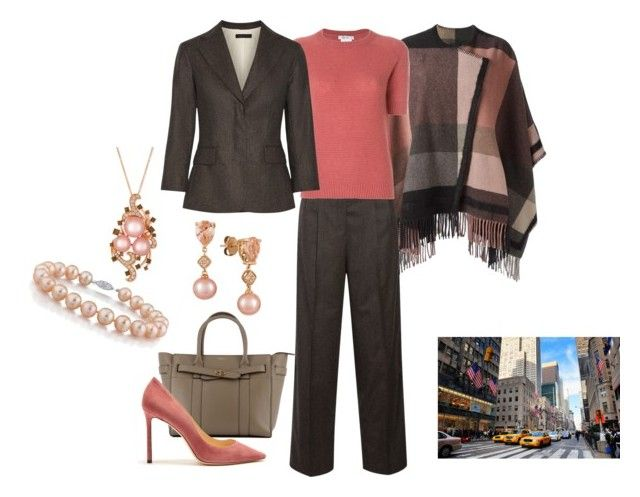 """""""Attending a Global Summit in New York"""" by hm-queen-rose ❤ liked on Polyvore featuring Etro, The Row, MaxMara, Mulberry, Jimmy Choo and LE VIAN"""