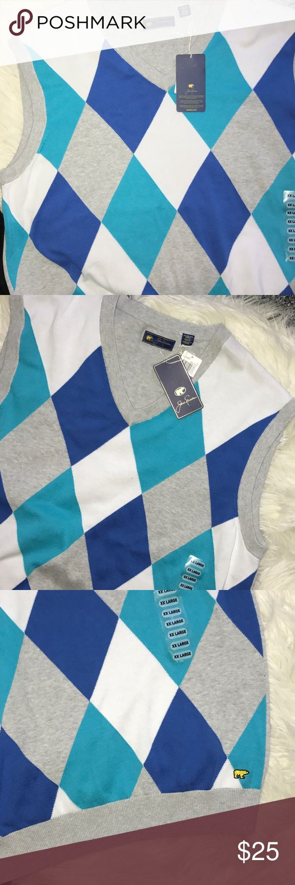 """NWT Jack Nicklaus Men's Argyle Golf Sweater Vest New with tags.  Jack Nicklaus golf sweater vest, size 2XL.  Solid Gray back.   Gray, white, Turquoise blue and Columbia blue argyle front.  V-neck.  100% cotton.  Pit to pit laying flat 25"""", length 28"""". Jack Nicklaus Sweaters"""