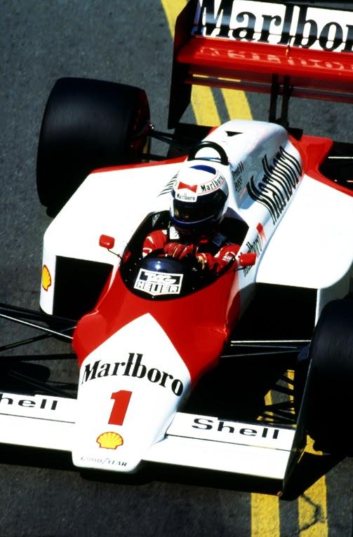 Alain Prost in the McLaren MP4-2C in Detroit '86