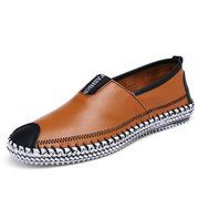 Big Size Men Genuine Leather Comfortable Slip On Business Casual Shoes - NewChic Mobile