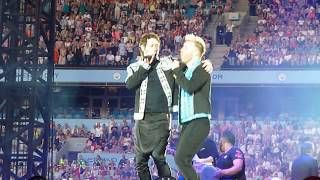Take That Clip of Love Life Manchester Etihad Stadium  18 June 2017 Gary and Howard showing some manlove