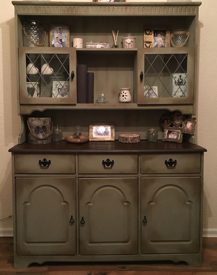 Painted Welsh Dresser Annie Sloan chateau grey and dark wax…